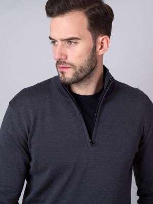 Grafitowy sweter rozpinany
