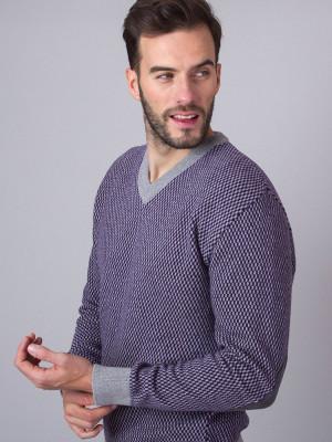 Fioletowo-szary sweter w drobną kratkę