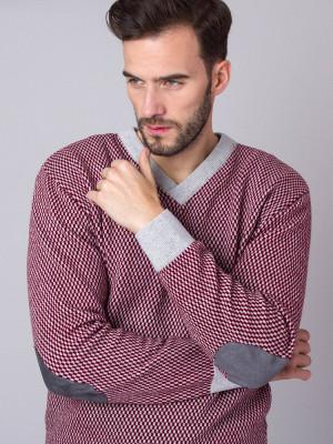Bordowo-szary sweter w drobną kratkę