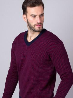 Granatowo-bordowy sweter
