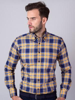 Taliowana koszula w granatowo-żółtą kratę