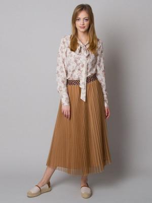 Długa brązowa spódnica plisowana