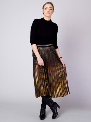 Długa złota spódnica plisowana