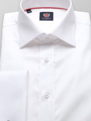 Biała gładka taliowana koszula na spinki