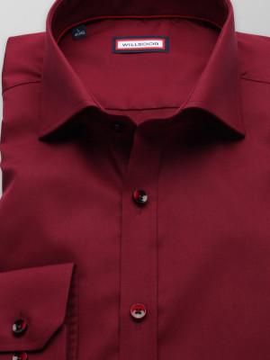 Bordowa koszula o mocno taliowanej sylwetce