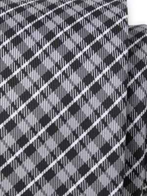 Krawat w czarno-szarą kratkę