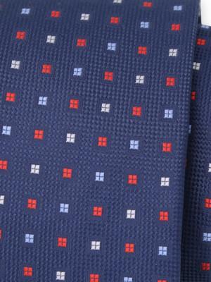 Granatowy krawat w drobne kwadraty