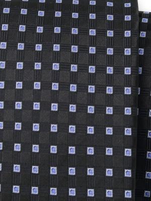 Czarny krawat w niebieskie kwadraty
