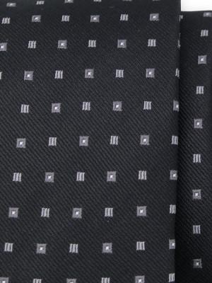 Czarny krawat w szare kwadraty