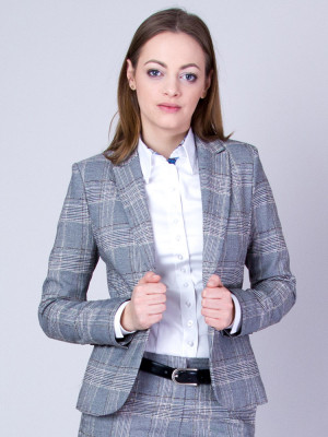 Szary garnitur damski w kratę