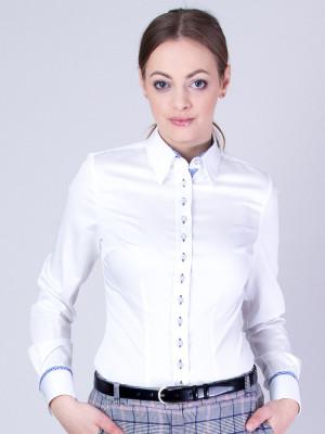 Biała bluzka z niebieskimi kontrastami