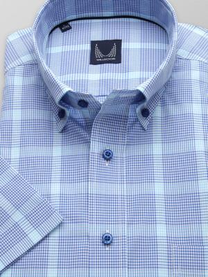 Taliowana koszula w granatowo-niebieską kratkę