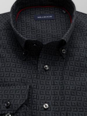 Czarna klasyczna koszula w szary wzór
