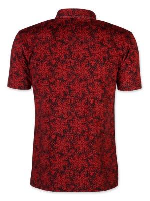 Czerwona koszulka polo w czarny wzór