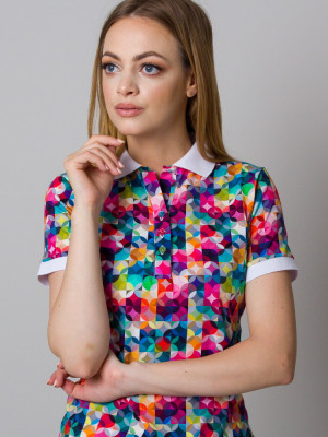 Kolorowa koszulka polo we wzory