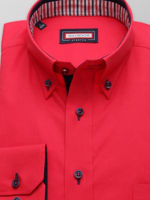 Czerwona klasyczna koszula z kontrastami