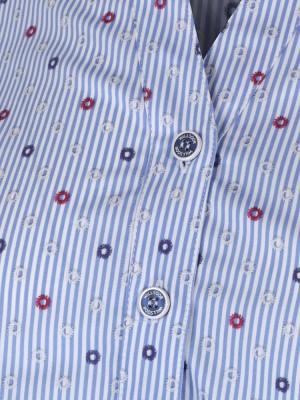 Niebieska bluzka w paski o luźnym kroju