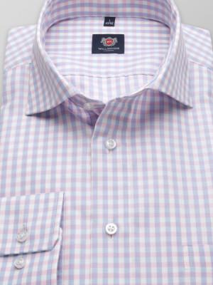 Taliowana koszula w różowo-błękitną kratkę