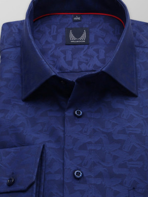 Klasyczna granatowa koszula we wzory