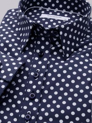 Granatowa bluzka w groszki