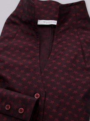 Bordowa bluzka w gwiazdki z wysokim kołnierzem