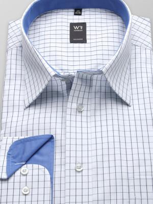 Klasyczna biała koszula w granatową kratkę