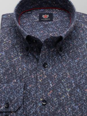 Granatowa klasyczna koszula w drobny wzór
