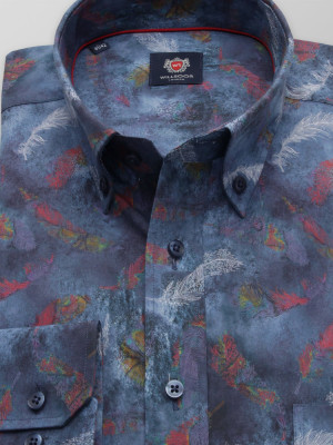 Granatowa klasyczna koszula w kolorowe pióra