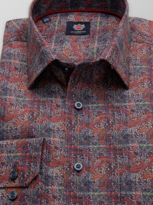 Brązowa klasyczna koszula we wzory