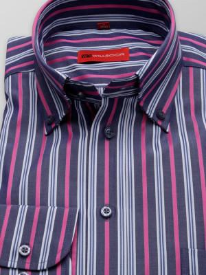 Granatowa taliowana koszula w różowe paski