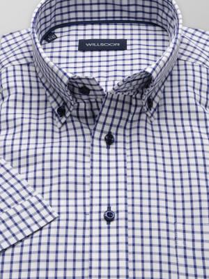 Biała taliowana koszula w kratę