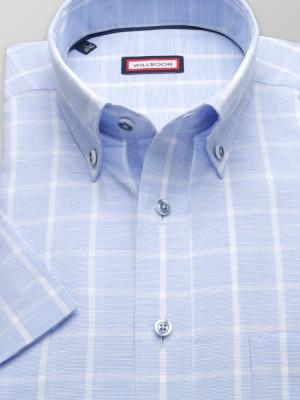 Błękitna taliowana koszula w kratę