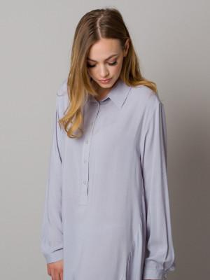 Jasnoszara asymetryczna koszula nocna