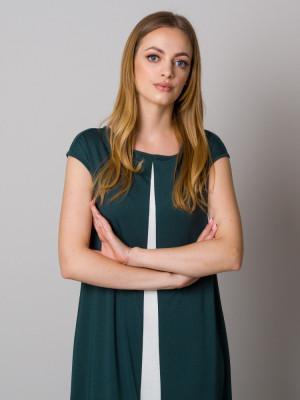 Długa zielona sukienka z kontrastem