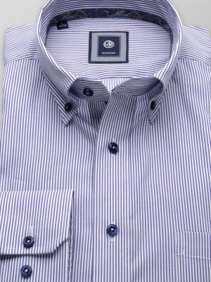 Taliowana koszula w granatowe i białe paski
