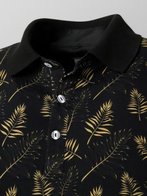 Czarna koszulka polo w złote liście