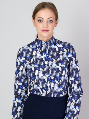 Granatowa bluzka w motyle
