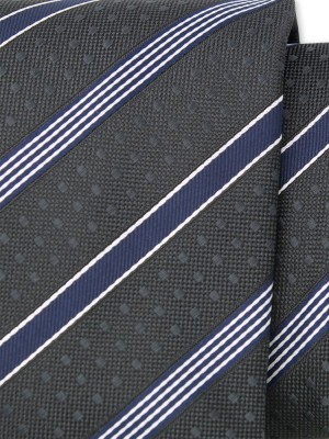 Klasyczny grafitowy krawat w kropki i pasy