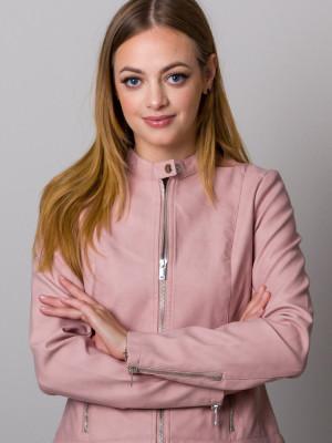 Różowa krótka kurtka typu ramoneska