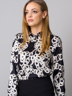 Czarna bluzka w kontrastowy wzór