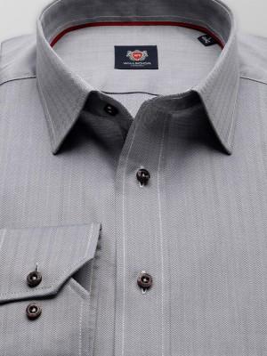 Szara taliowana koszula w jodełkę