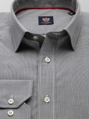 Szara taliowana koszula w kratkę