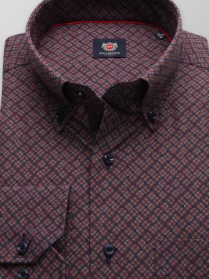 Bordowa klasyczna koszula w kwadraty