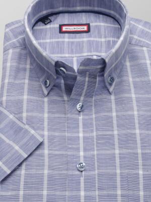 Niebieska taliowana koszula w kratę
