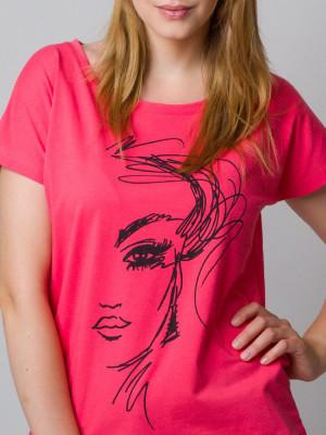 Malinowy t-shirt z nadrukiem