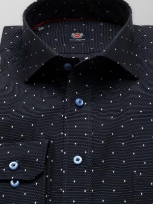 Czarna taliowana koszula w prążek