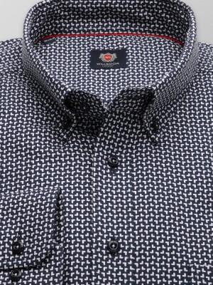 Granatowa klasyczna koszula we wzór