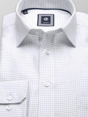 Biała klasyczna koszula w granatową kratkę