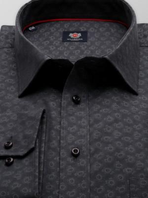 Klasyczna grafitowa koszula w szare okręgi
