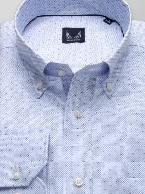 Błękitna klasyczna koszula w drobny wzór